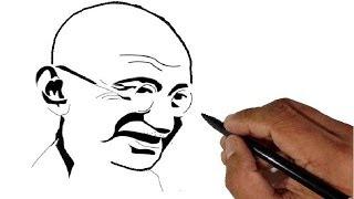 getlinkyoutube.com-How to draw Mahatma Gandhi - Children's day special.