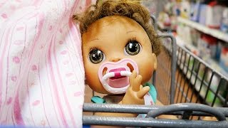 getlinkyoutube.com-Shopping with Baby Alive Poops and Pees Doll and with a Reborn Baby Doll at Walmart