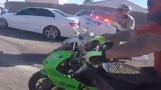 getlinkyoutube.com-BIKE COP VS Motorcycle POLICE CHASE Street Bikes RUNNING From The COPS Get Away Las Vegas, NV 2016