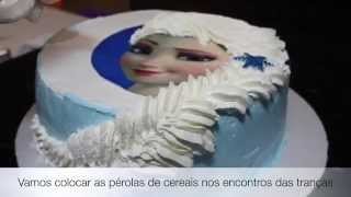 getlinkyoutube.com-Bolo da Elsa (Frozen) - Trança feita com Chantilly