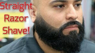 getlinkyoutube.com-Full Beard Trim and Straight Razor Head Shave! Bigen Beard Color