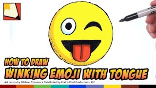getlinkyoutube.com-How to Draw Emojis - Winking with Tongue Sticking Out - Step by Step for Beginners