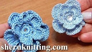 getlinkyoutube.com-Crochet 3D Layered Flower Tutorial 6 Häkelblume