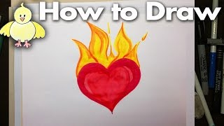 getlinkyoutube.com-How to Draw and Easy Cartoon Flaming Heart Step by Step