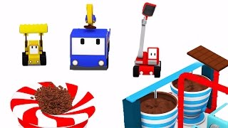 getlinkyoutube.com-The Chocolate Factory  - Learn with Tiny Trucks : bulldozer, crane, excavator | Educational cartoon