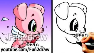 getlinkyoutube.com-Drawing Tutorials for Beginners - How to Draw a Pig with WINGS! - Learn to Draw - Fun2draw
