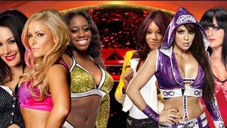 getlinkyoutube.com-WWE Raw - Brie Bella, Natalya, Naomi vs Layla, Alicia Fox, Aksana (AJ on Commentary) - FULL MATCH HD