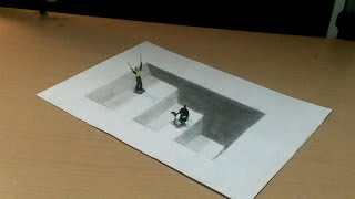 getlinkyoutube.com-【トリックアート】紙の中に階段を描く方法 Trick Art How to Draw 3D Stairs (3D Ladders) - Optical Illusion