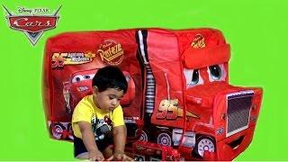getlinkyoutube.com-Giant Disney Cars Mack Truck Tent  Thomas and Friends Toy Train Egg Surprise