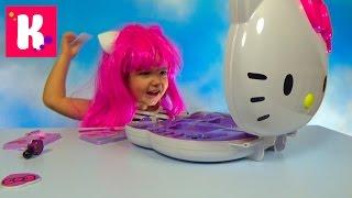 getlinkyoutube.com-Хеллоу Китти набор косметики и парик распаковка косметички Hello Kitty makeup kit unpacking