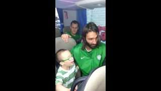 Jay Beatty on bus with Glasgow Celtic FC singing HAIL HAIL