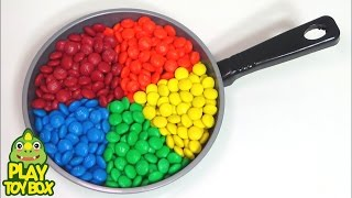 M&M Frying Pan Cake Dessert Play Doh Orbeez Peppa Pig Learn Colors & Names