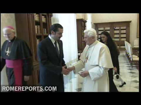 Lebanese Prime Minister Hariri met Pope Benedict XVI at the Vatican