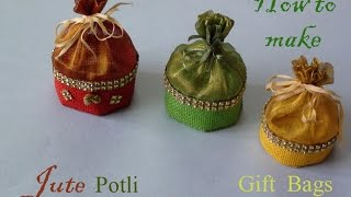 getlinkyoutube.com-How to make jute potli gift bag