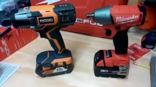 getlinkyoutube.com-Milwaukee M18 Fuel vs. Ridgid Gen4X Impact Wrench Lag Bolt Face Off