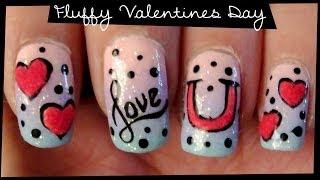 getlinkyoutube.com-Fluffy Valentines Day nail art