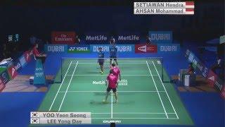 getlinkyoutube.com-Dubai World Superseries Finals 2015 | Badminton SF M1-MD | Lee/Yoo vs Ahs/Set