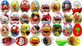 getlinkyoutube.com-30 Surprise Eggs Kinder Surprise Disney Planes Cars 2 SpongeBob Dora the Explorer Shrek Unboxing