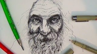 getlinkyoutube.com-Pen and Ink Drawing Tutorials | Portrait Drawing Demonstration II