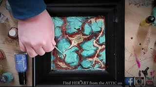 getlinkyoutube.com-TURQUOISE Inspired ABSTRACT FLUID PAINTING TECHNIQUE (Semi precious stone painting series)