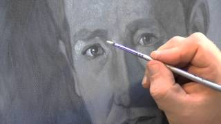 getlinkyoutube.com-Painting a portrait using a grisaille (grey tone underpainting)