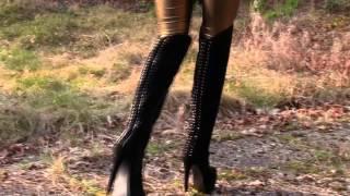 getlinkyoutube.com-Meine neuen Overknees Stoff Stiefel - Textil Boots Overknee Cora 2014