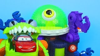 getlinkyoutube.com-Imaginext Ion Alien Headquarters with Disney Pixar Cars Lightning McQueen and Mater