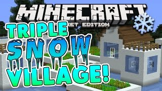 TRIPLE SNOW VILLAGE!! 1.0.4 Minecraft Pocket Edition: Taiga Biome Villages