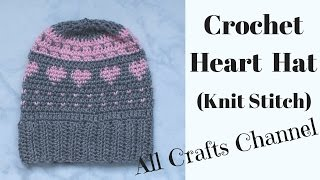getlinkyoutube.com-Crochet-  Knit Stitch Hat with Hearts (Video 1 )