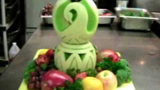 getlinkyoutube.com-Khmer Live ! Melon #1 how to do swan Carving .