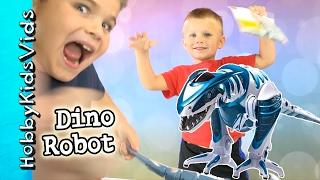 Dinosaur Robot Walking Toy! Blue Tooth Tech Roboraptor Toy Review HobbyKidsVids