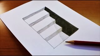 getlinkyoutube.com-Very Easy!! How To Draw 3D Hole & Stairs for Kids - Anamorphic Illusion - 3D Trick Art on paper