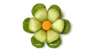 getlinkyoutube.com-Cucumber Little Button Flower - Beginners Lesson 63 By Mutita Art Of Fruit And Vegetable Carving