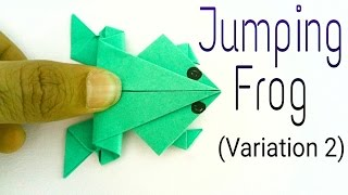 "getlinkyoutube.com-How to make a paper ""Traditional Jumping Frog 🐸"" - (Variation 2) - Action Fun Origami tutorial."
