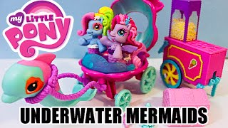 getlinkyoutube.com-My Little Pony Underwater World Mermaid Beach Visit Mini Movie, dolphins beach toy set Dobertot