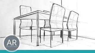 Innenarchitektur zeichnen lernen  Innenarchitektur Skizzen. Räume schnell zeichnen lernen ...