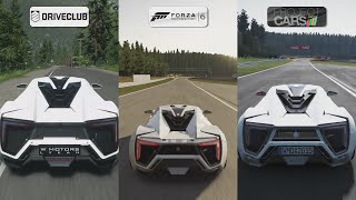 getlinkyoutube.com-DriveClub vs Forza 6 vs Project CARS - W Motors Lykan HyperSport Sound Comparison