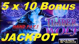 getlinkyoutube.com-★ MASSIVE JACKPOT ! (5 x 10 Bonus pick ) Hand Pay !★☆TIMBER WOLF DELUXE Slot☆$2.50 Max Bet