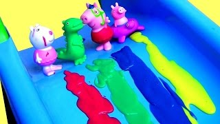 getlinkyoutube.com-Color Changing Peppa Pig Bathtime Party with Mermaid Elsa Bath Paint Crayons Surprises LEARN COLORS