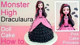 getlinkyoutube.com-Halloween Monster High Draculaura Doll Cake How to by Pink Cake Princess