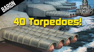 getlinkyoutube.com-World of Warships 40 TORPEDOES!  Kitakami vs Yamato, Japanese Cruiser
