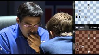 getlinkyoutube.com-Excited Magnus Carlsen, Anxious Anand - End of Rd11 - World Chess Championship 2014