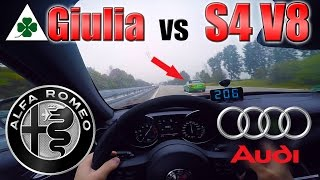 getlinkyoutube.com-Giulia Quadrifoglio meets Audi S4 V8 on German Autobahn ✔
