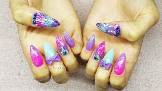 getlinkyoutube.com-Mermaid tail inspired acrylic nail art | summer nails | glitter
