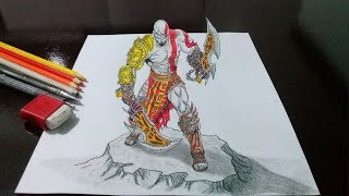 getlinkyoutube.com-Desenhando o Kratos - God of War - em 3D - Drawing Kratos God of War in 3D