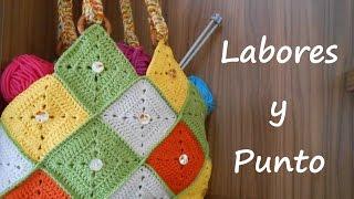 getlinkyoutube.com-Aprende a hacer este bolso patchwork a ganchillo o crochet- Parte 1 de 2