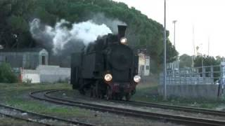 Sardinian Narrow Gauge Stream loco arrives at Arbatax