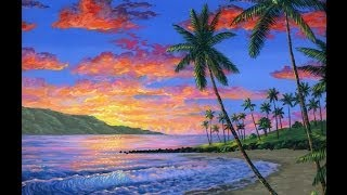 getlinkyoutube.com-cara melukis pantai saat matahari terbenam dengan menggunakan akrilik di atas kanvas
