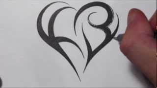 getlinkyoutube.com-How To Create a Heart Using Letters - Tribal Initials Tattoo Design