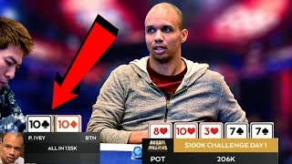 Phil Ivey\'s FULL HOUSE Over STRAIGHT In $100,000 Buy-In Poker Tournament!